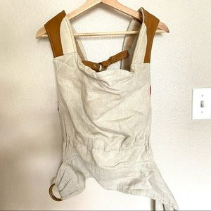 Sakura Bloom Scout Linen and Leather baby carrier